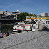 The boat we took for the canal cruise, docked at La Villette Basin