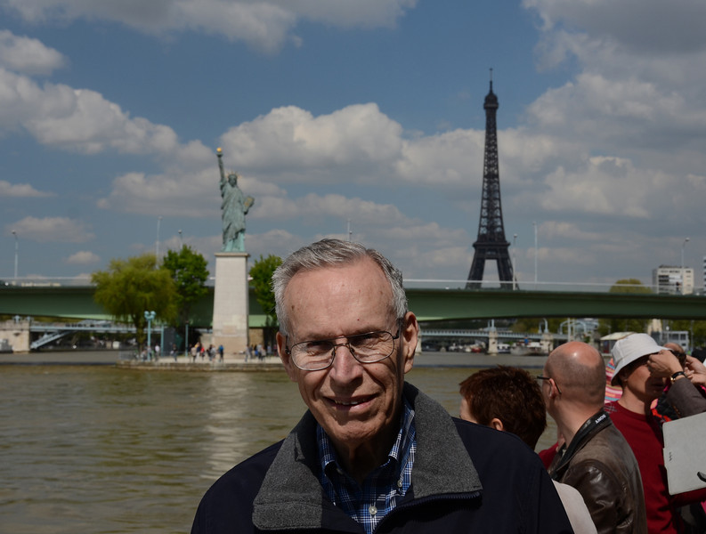 Dad and the Statue of Liberty and Eiffel Tower