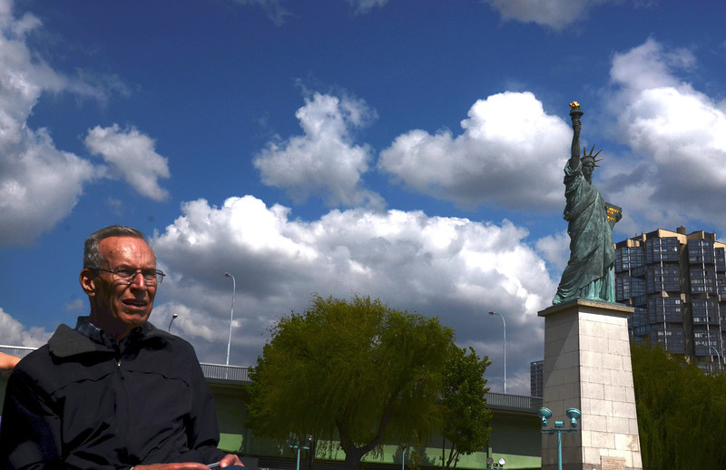 Dad with the Statue of Liberty