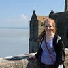 Kat on the terrace at Mont Saint-Michel