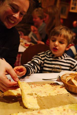Flammkuchen at Restaurant d'Steinmuehl in the small village of Lampertheim