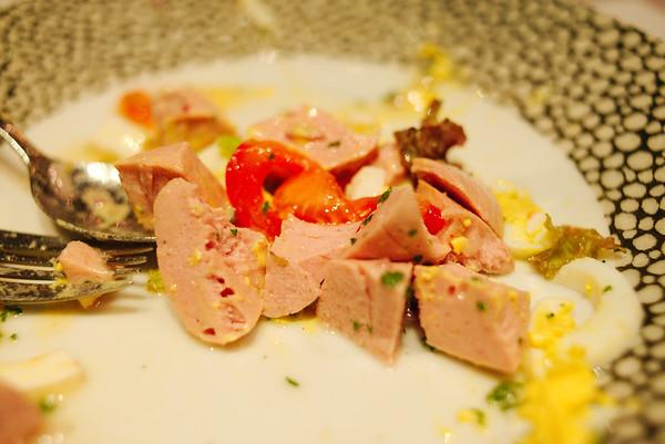 Alsatian salad at Restaurant d'Steinmuehl in the small village of Lampertheim