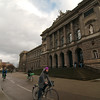 Cycling past the university