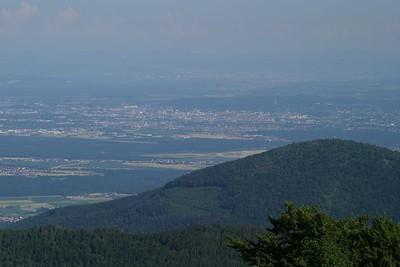 View from le Grand Ballon.  The closer city is Mulhouse, with Basel behind it.