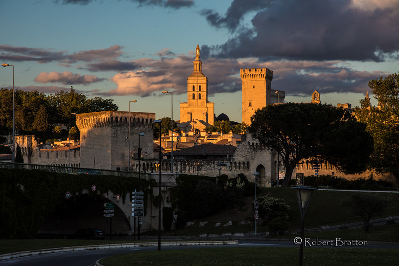 Sunset over the Walled City of Avignon