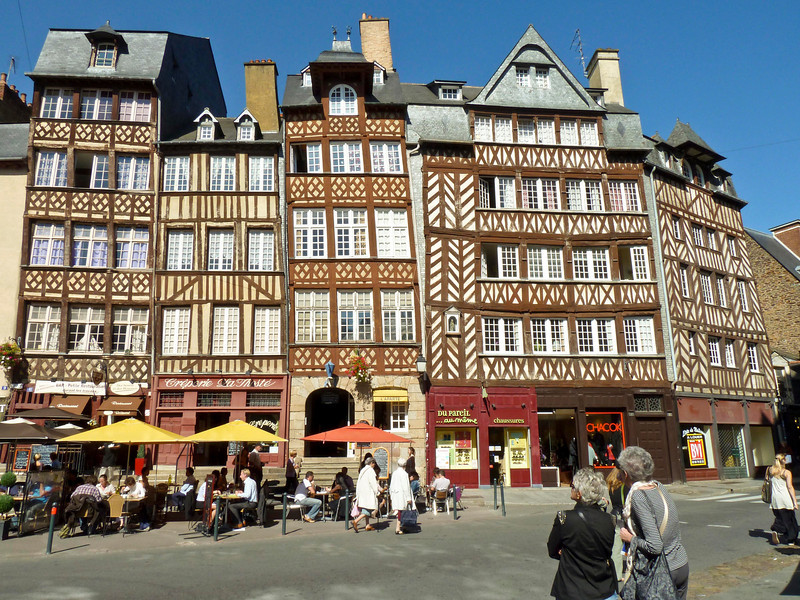 Timber framed buildings on Rue du Champ-Jacquet in Rennes