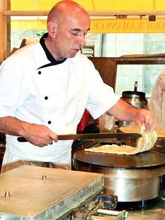 Sweet crepe being prepared.