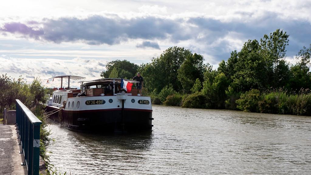 Canal du Midi - Athos barge docked