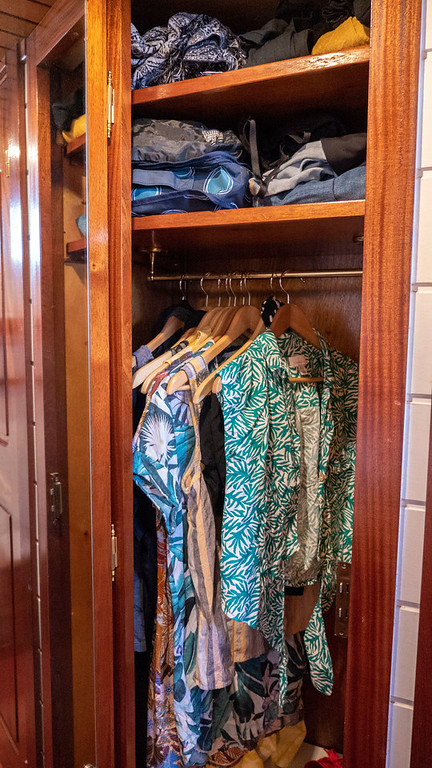 Closet in my stateroom on the Athos du Midi luxury barge