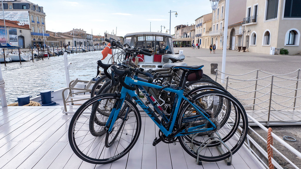 Bicycles on the Athos du Midi docked in Marseillan
