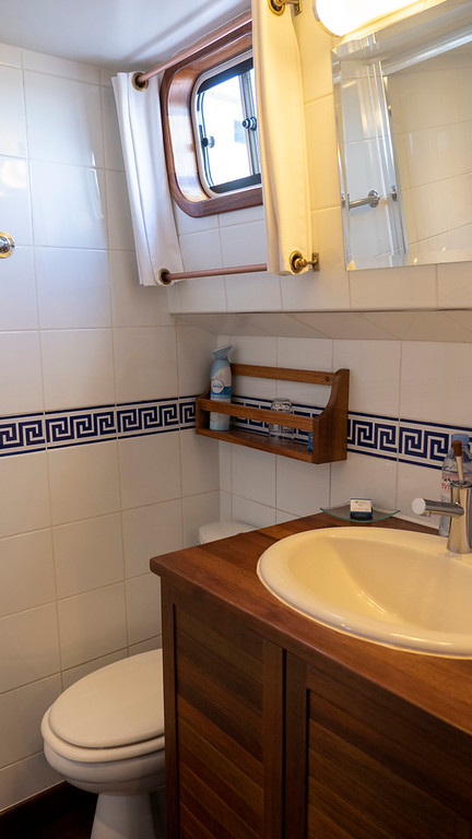 Bathroom in my cabin aboard the Athos du Midi luxury hotel barge