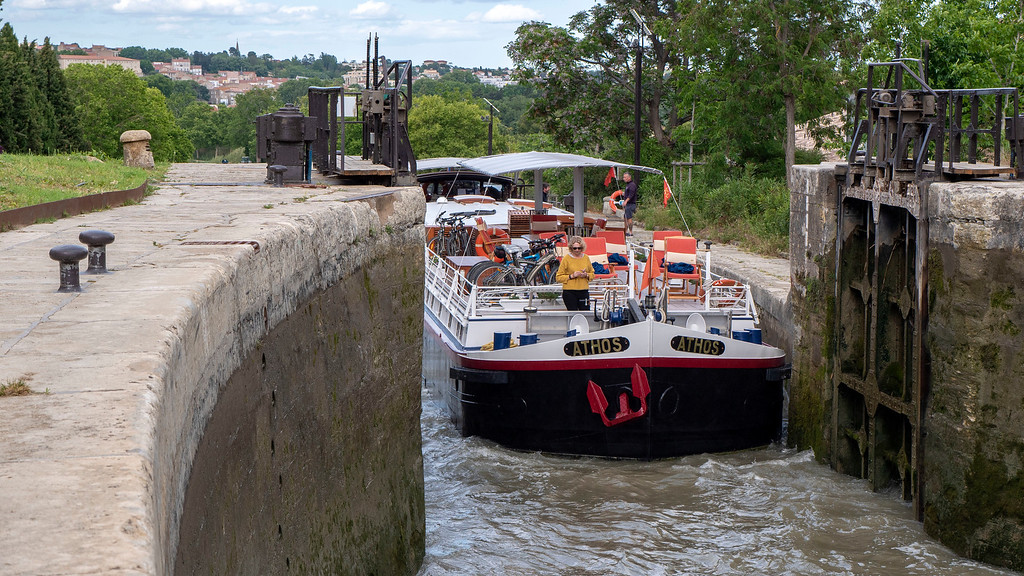 Athos barge cruise navigating the 9 locks in Beziers France