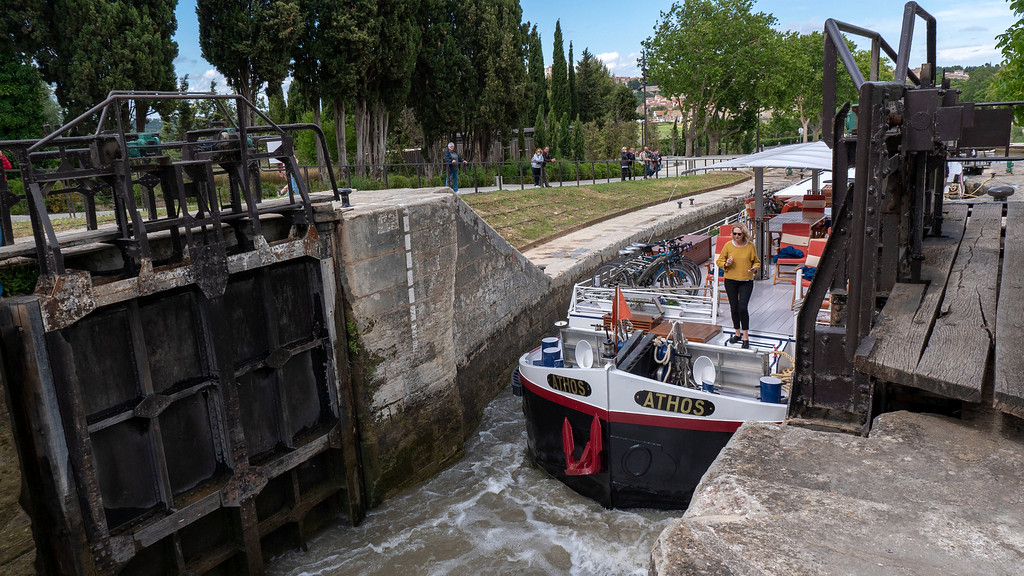 Athos hotel barge at the staircase locks on the Canal du Midi