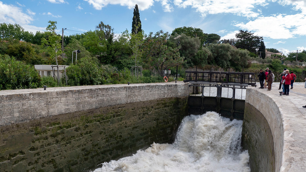 Rushing water at the 9 locks of Beziers France