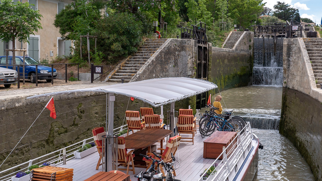 Fonserannes Locks on the Canal du Midi, South of France