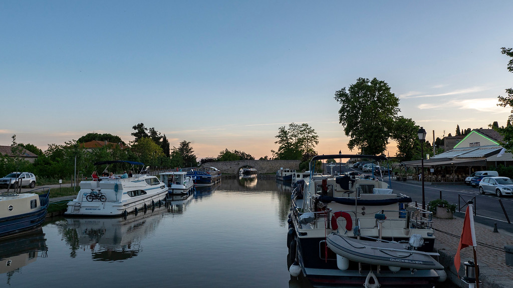 Sunset in Capestang France at the Canal du Midi