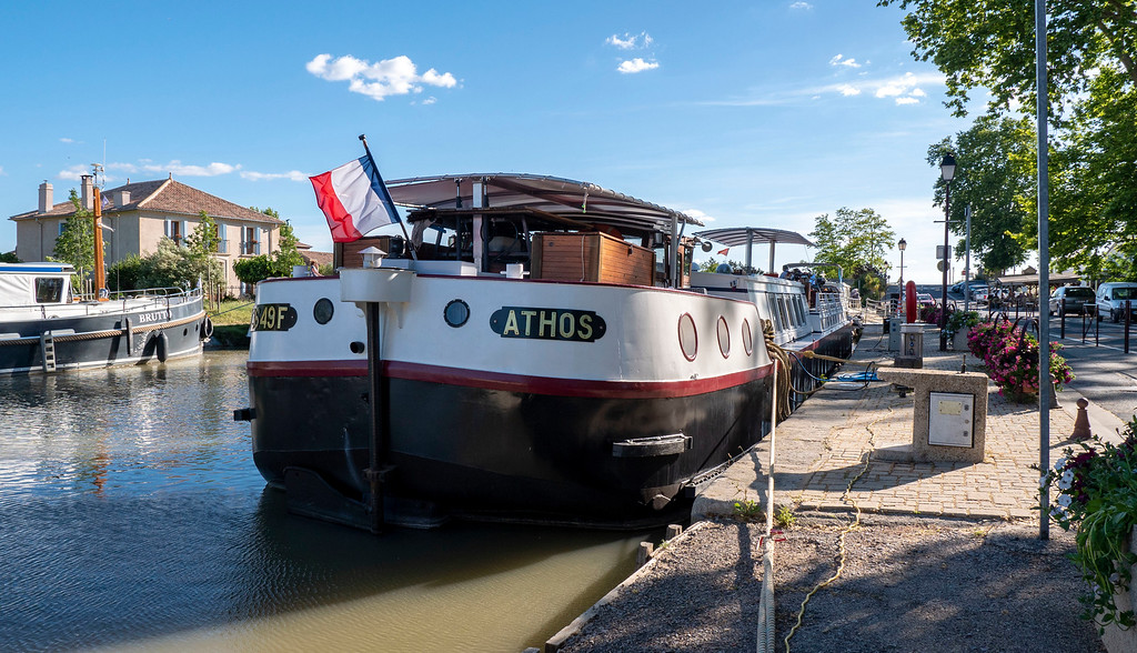 Athos barge docked in Capestang France