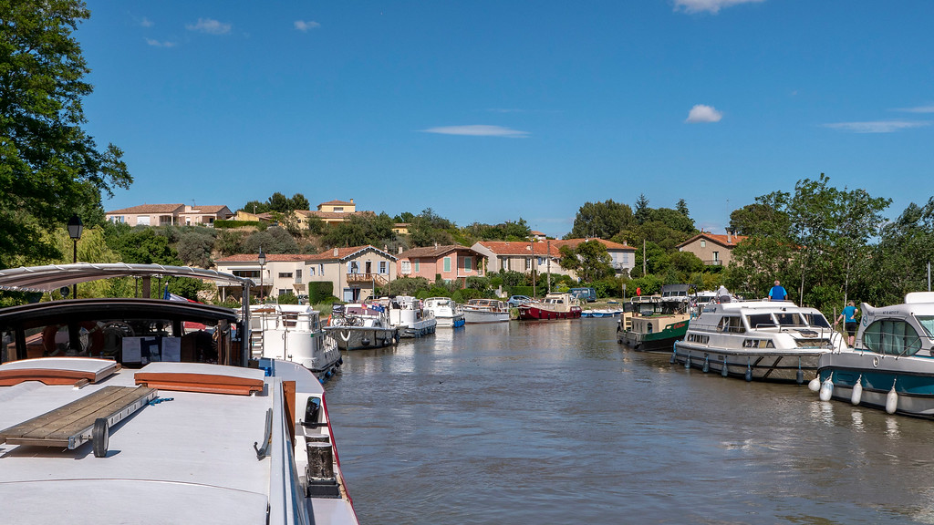 Canal du Midi docking place in Capestang, France