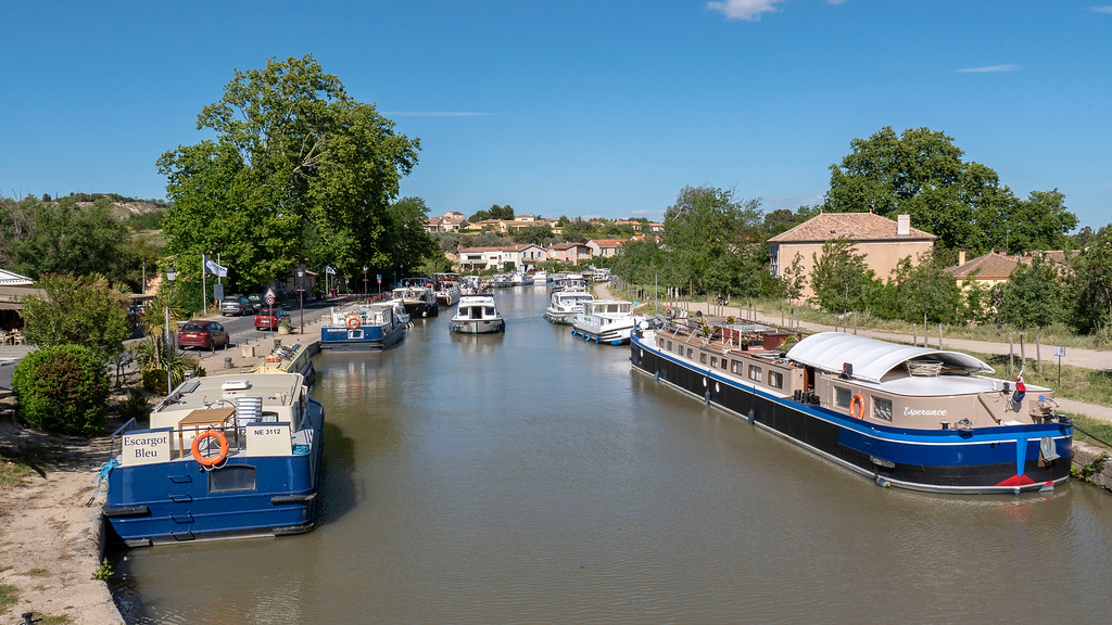 Boats on the Canal du Midi in the South of France