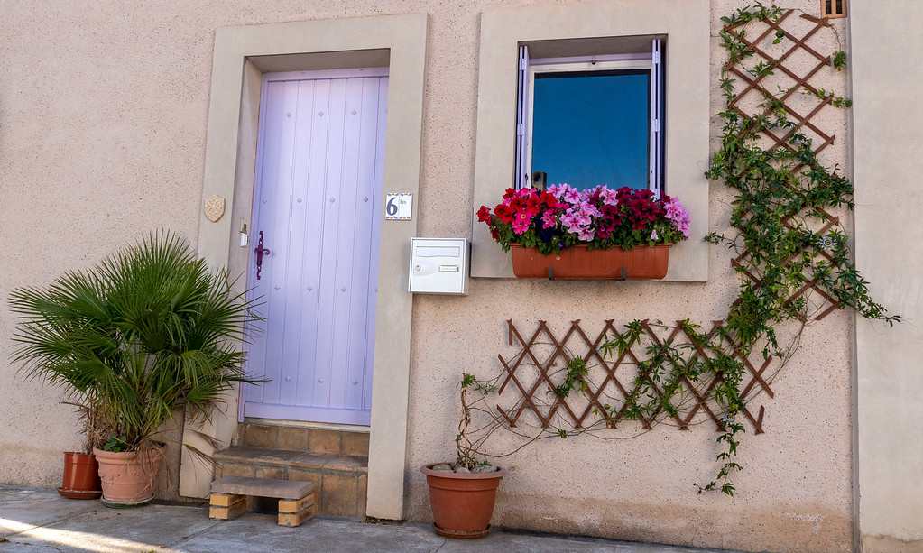 Painted pastel doors of Capestang France