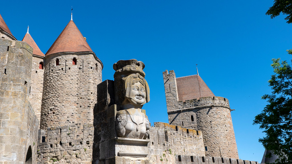 Lady statue at the front gate of Carcassonne France