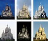 Six different pictures of Sacre Coeur church in Paris, France, cropped and resized to match each other and placed together in one JPG file.   (Sony F717)