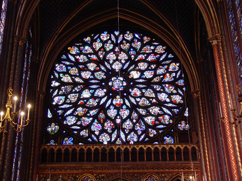 Stained glass window in Saint Chapelle church in Paris, France.   (Sony F717)