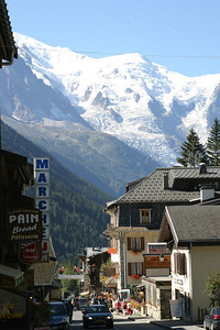 The main street of Argenière, the small village near Chamonix where I stayed.  The slopes of Mont Blanc are visible in the background.