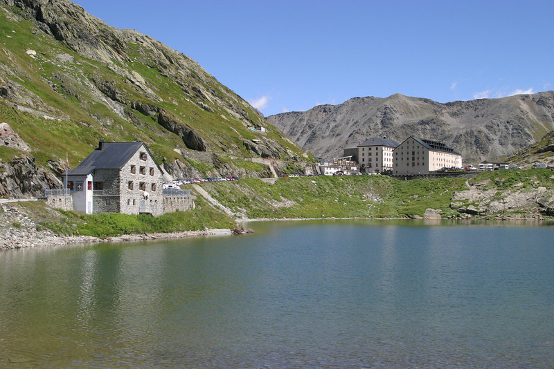 The Hospice du Grand-St.-Bernard (right) and the Swiss border crossing (left), from the Italian side of the lake.