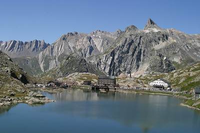At the top of the Great St. Bernard Pass, looking across the lake from the Swiss side to the Italian side.