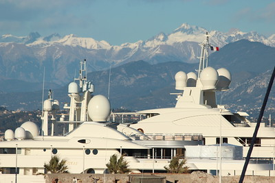Super Yachts moored in Port Vauban, Antibes, France