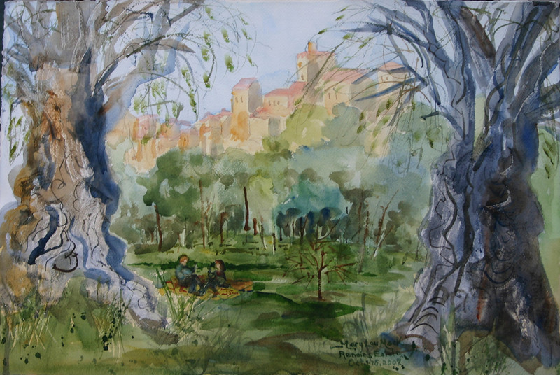 "Olive Grove At Renior's Estate- Cagnes Sur Mer, France<br /> 15"" x 22"" Price: $400. Unframed"