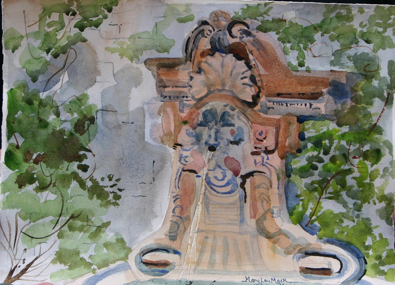 """Fountain At Mougins, France<br /> 11"""" x 15"""" Price: $110. Unframed"""