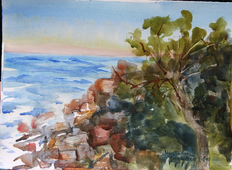 "Cote D'Azur Rocky Coast<br /> 11"" x 15"" Price: $150. Unframed"