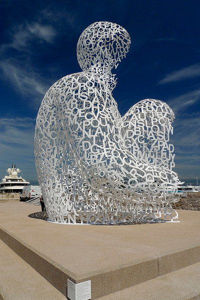 "Statue ""Nomade"" in the harbor of Antibes by Jaume Plensa - a Catalan artist living in Barcelona, Spain"