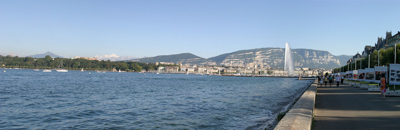 Geneva, Right Bank, with the Left Bank, Salève, and Mont Blanc in the background to the left.