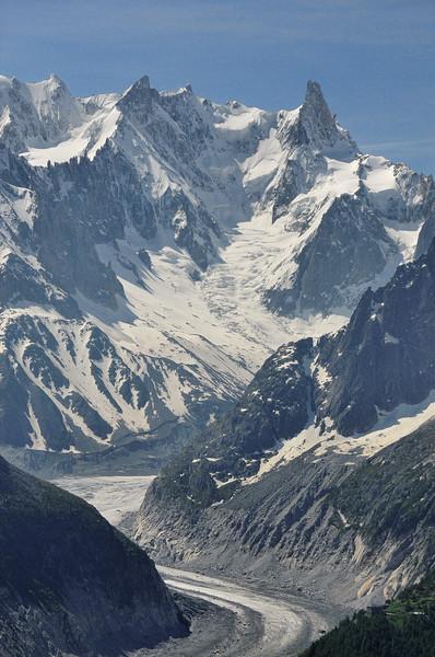 Vers la Mer de Glace - Dôme de Rochefort, Mont Mallet, Aiguille de Rochefort, Dent du Géant