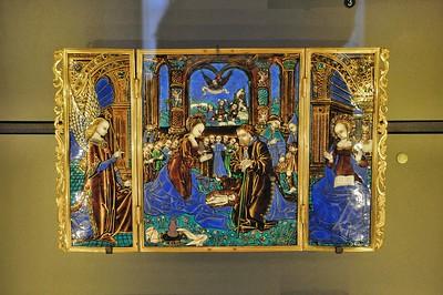 Limoges - Musée des Beaux-Arts - Emaux - La Nativité, l'Annonciation (Maître aux grands fronts - 1er quart du 16e siècle)
