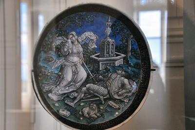 Limoges - Musée des Beaux-Arts - Emaux de Limoges, fond de coupe représentant Pyrame et Thisbé (Pierre Reymond - 1537)