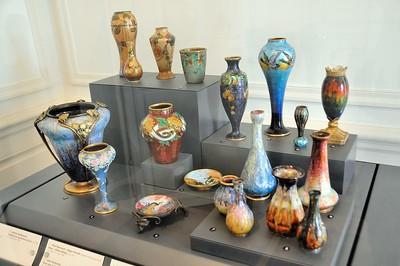Limoges - Musée des Beaux-Arts - Emaux de Limoges, vases et coupelles (Paul Bonnaud et Jules Sarlandie pour l'essentiel, 1903-1919)