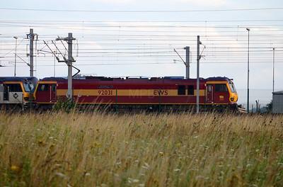 92 031 at Calais Frethun on 3rd August 2005