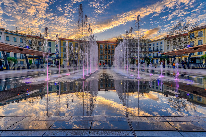 Place Jean Jaures and the new musical fountains, Beziers, Herault