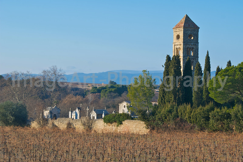 A walled cemetery in rural France surrounded by vineyards