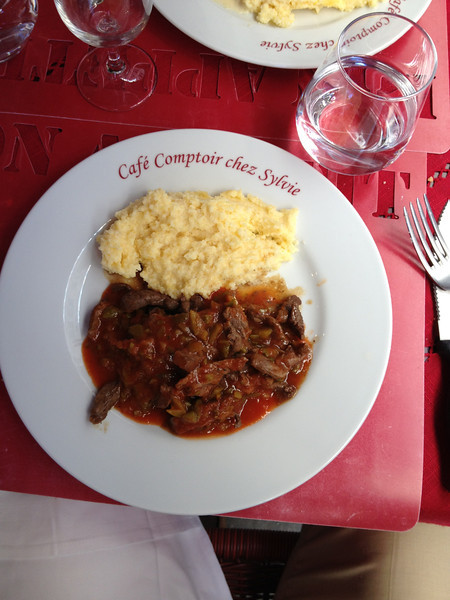 Great food at Café Comptoir chez Sylvie.   The yellow stuff was similar to grits.