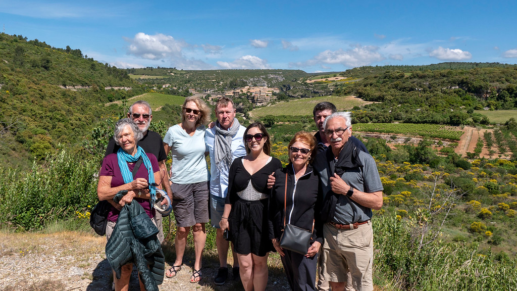 Our group just outside of Minerve, France from the Athos du Midi.