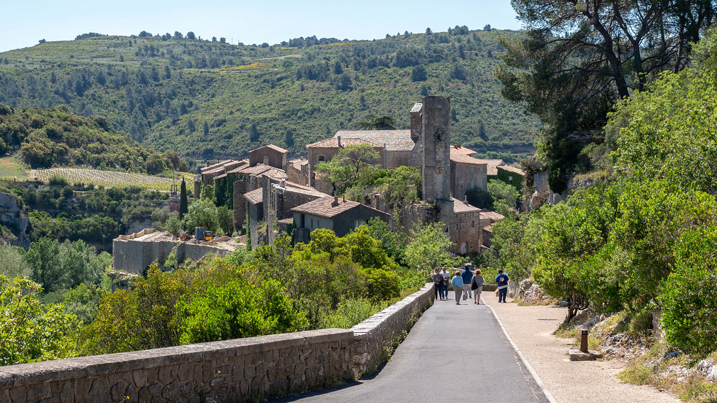 Walking down to Minerve from the car park, France