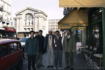In Paris with Akram Baloch (ex-MPA) and Iqbal Zafar Jhakra (ex-MNA), at present perhaps Sec. General PML. The building in the background is that of Gare du Nord (Paris).