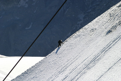 Climber on the Aiguille du Midi