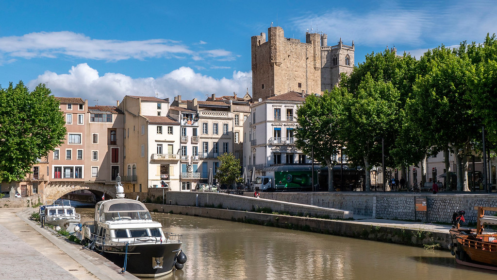 The Merchants Bridge and the Canal de la Robine in Narbonne France