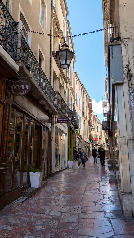 The Merchants Bridge - Pink marble shopping street in Narbonne France